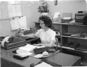 Our school secretary, Mrs. Waters, hard at work.  Photo provided by the Museum of Northwest Colorado.  Thanks