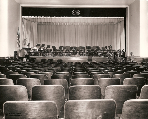 Looking inside the auditorium.  Where's Charlie Brown?  Photo provided by the Museum of Northwest Colorado.  Thanks
